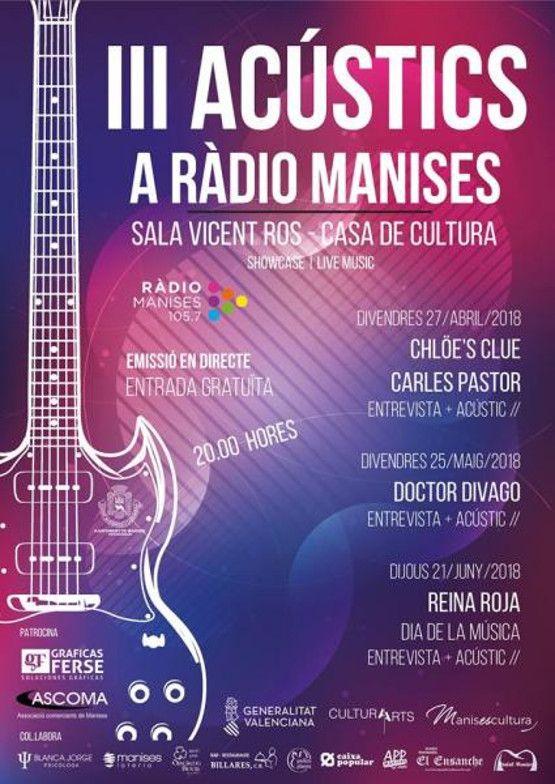 cartel acustics radio - reina roja
